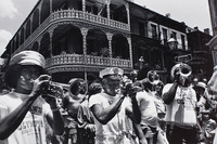 Street parade in the French Quarter.  Wendell Brunious (trumpet, left).