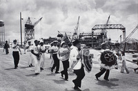 Olympia Brass Band at a shipyard.