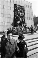 Women leaving at the conclusion of the 36th anniversary of the Warsaw Ghetto Uprising. Natan Cywiak standing by Rapoport sculpture in background. 1979