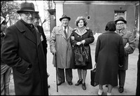Awaiting Passover Seder outside Jewish Community building. 1979