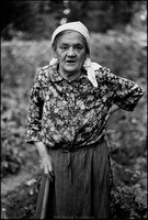 72-year-old Apolonia Rzymowska in her garden. A Polish Gentile, Rzymowska saved lives by feeding Jews hiding in the forests around her home in Kock. 1975