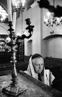 Abraham Fogel, reader at Krakow's Remu Synagogue. The last of Poland's rabbis fled in 1968. 1975
