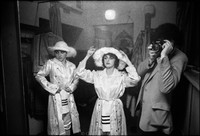 Prepping before going  onstage at Warsaw Yiddish Theater. (l-r) Elzbieta Kin, Etel Szyc, young photographer. 1980