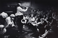 Willie Humphrey (clarinet b. 1900) with Preservation Hall audience.