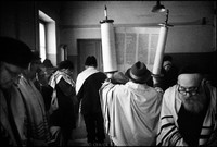 Shabbat services in  Warsaw's Beit Midrash. Courageous few practice openly under Communism. 1979