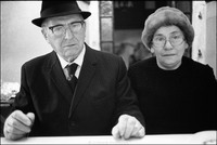 Mr. and Mrs. Abraham Fogel, after kiddush and Shabbat services in the Remu Synagogue. 1978