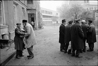 Outside Warsaw's Beit Midrash after Shabbat service. 1980