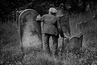 Mosses Lekker, caretaker of the Jewish Cemetery in Lodz. 1975
