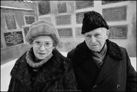 Mr. and Mrs. Abraham Fogel in the courtyard of the Remu Synagogue after Shabbat services. They lived through the Holocaust in Russia. 1979