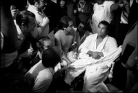 Muhammad Ali surrounded by international press.