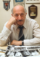 "Simon Wiesenthal (1908-2005), Holocaust survivor and Nazi hunter, in his office at the Jewish Documentation Center in Vienna, Austria 1979. In the movie version of ""The Boys from Brazil"", Sir Laurence Olivier played the Wiesenthal character. When I asked him about the movie, he said he told Olivier "" Please don't make me no James Bond!"""