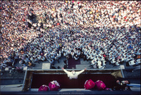 Pope John Paul II addressing crowd from a balcony in Czestochowa, Poland during his first historic trip back to his homeland since becoming Pope.