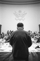 Teng Hsiao Ping (Deng Xiaoping), Chinese Vice Premier and leader of China from 1978-1992, at House International Relations Committee (plus press). Washington DC January 1979