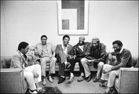 Backstage at the Kool (formerly Newport) Jazz Festival in Saratoga, New York. (l-r) Wynton Marsalis, Herbie Hancock, George Benson, Bobby McFerrin, Ron Carter and Joe Henderson.