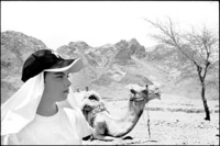 Me, a camel and the Sinai mountains.  Camels are stubborn, funny, dumb, smile, spit and have 2 pairs of knees on their hind legs.