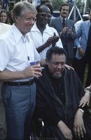 U.S. President Jimmy Carter and jazz bassist, composer and band leader Charles Mingus (1922-1979) at the White House jazz concert 6 months before Mingus died from ALS.