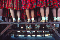 Girls chorus at folkloric festival in the Tatra mountains of southern Poland. 1979