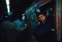 Subway conductor. NYC 1983